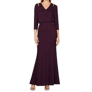 Calvin Klein Metallic Purple Long Sleeve Cutout Shoulder Maxi Gown SZ 14